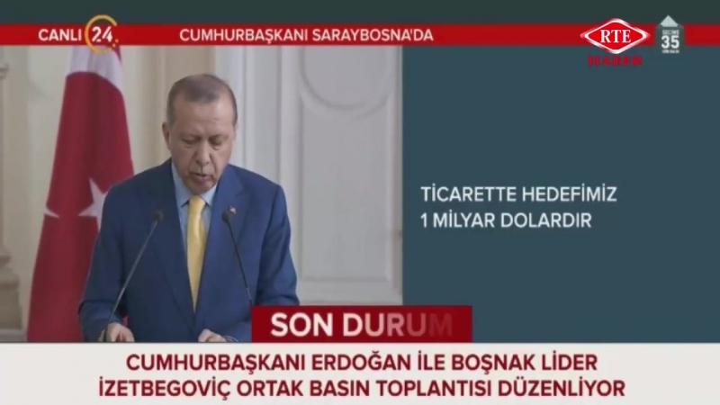 Cumhurbaşkanı Recep Tayyip Erdoğan, İzzetbegoviç ortak basın toplantısı 20 Mayıs 2018