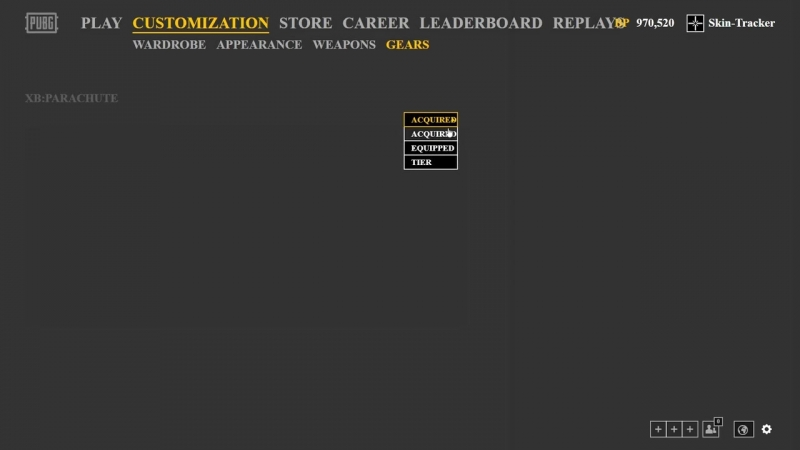 Новый раздел «Gears» с парашютами, PUBG (skin-tracker)