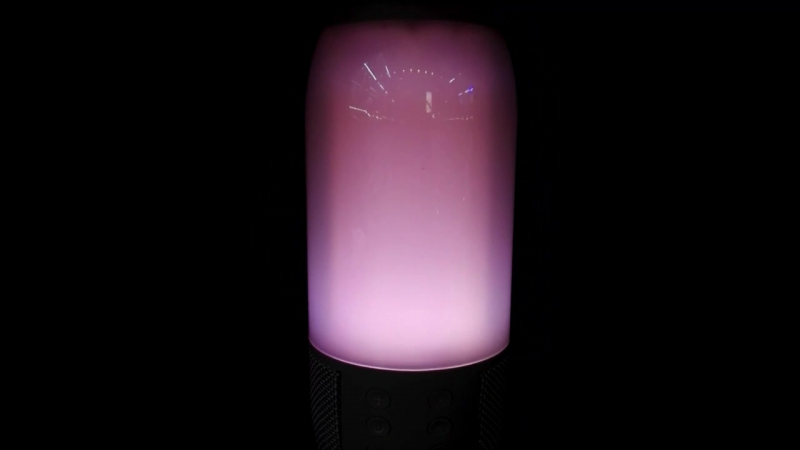 Колонка бежевая Bluetooth с подсветкой