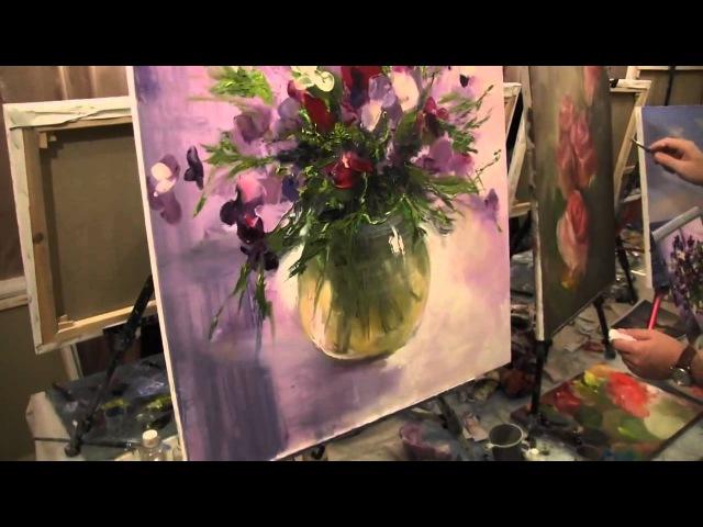 Игорь Сахаров, научиться рисовать маслом, букет цветов