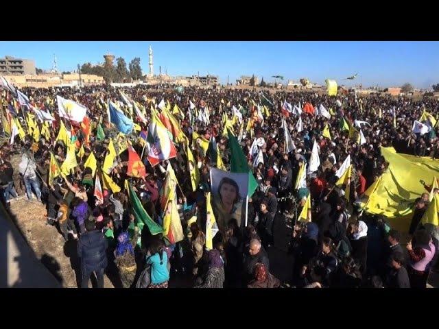 Syrian Kurds in Qamishli protest Turkish Afrin campaign