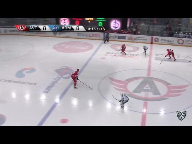 Моменты из матчей КХЛ сезона 16/17 • Гол. 0:1. Горшков Александр (Адмирал) пробил вратаря реализовав выход один на один 28.11