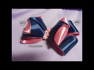 Бант из атласных лент МК/ DIY Satin ribbon bow/PAP Arco de fita de cetim