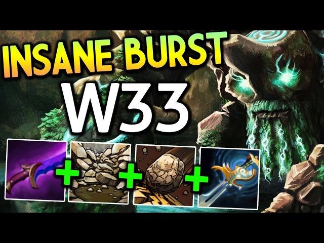 W33 Dota 2 [Tiny] ft Pudge by Qupe | Insane Burst Damage!!
