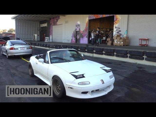 [HOONIGAN] DT 082 Pontiac GTO and Mazda Miata Tug of War