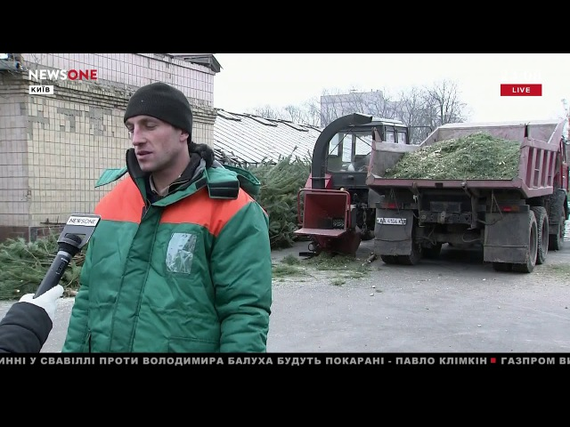 В Киеве окрыляли пункты для приема и переработки новогодних елок 16.01.18