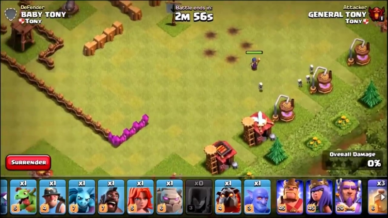 General Tony ONE TROOP vs ONE MAZE BASE 🔥 IMPOSSIBLE TROOP CHALLENGE IN CLASH OF CLANS 🔥
