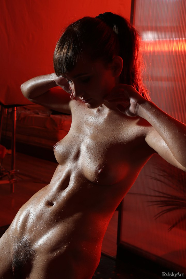Babe strips and pulls out the dildo