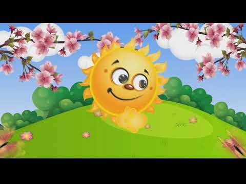 Весёлая песенка(выглянуло солнышко из за серых туч).Музыкальный мультик для малышей.