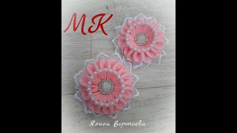 Интересные резинки Зефирки Канзаши МК / DIY Scrunchy with Kanzashi flowers