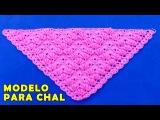 Modelo para CHAL en Punto ROCOCO y ABANICOS tejido a crochet paso a paso