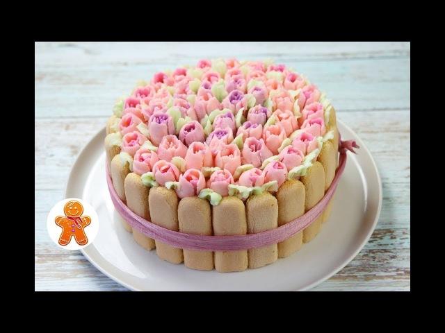 Праздничный Торт Корзина с Цветами ✧ Cake With Flowers (English Subtitles)