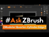 #AskZBrush How can I make a perfect quarter-cylinder on the edge of a cube using ZModeler