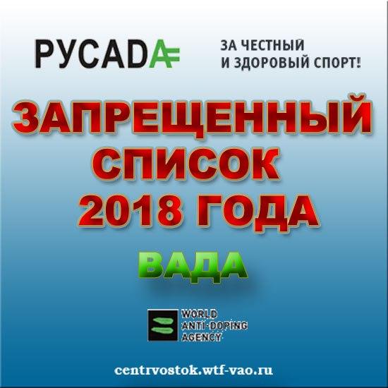 Prohibited List Wada 2018
