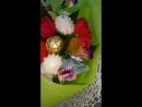 Букет с цветами из конфет тюльпаны, подснежники и зефиром