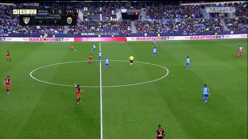 Чемпионат Испании 2017-18 Primera Division 24-й тур Малага (Малага) – Валенсия (Валенсия) [720, HD]