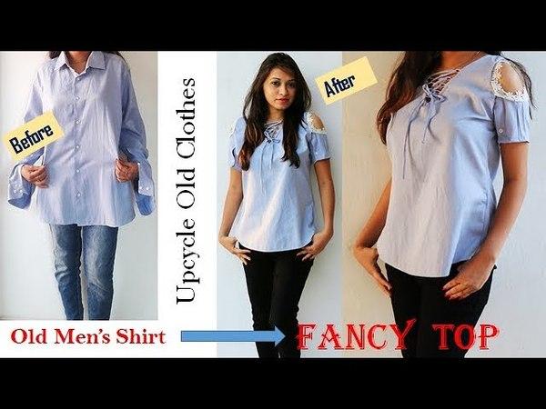 DIY Convert Men's Old Shirt Into Fancy Ladies Top In Easy Way
