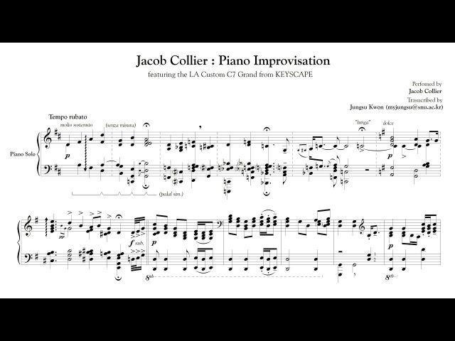 Jacob Collier Piano Improvisation Transcription Keyscape