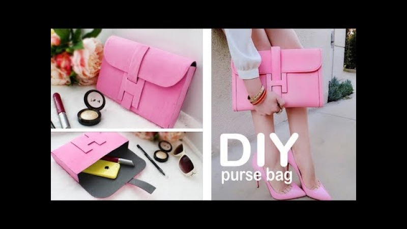 DIY PURSE BAG CLUTCH TUTORIAL NO SEW IDEA