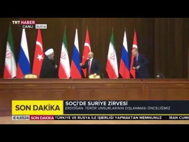 На встрече в Сочи поехавший Путин зачем-то отодвинул стул у Эрдогана