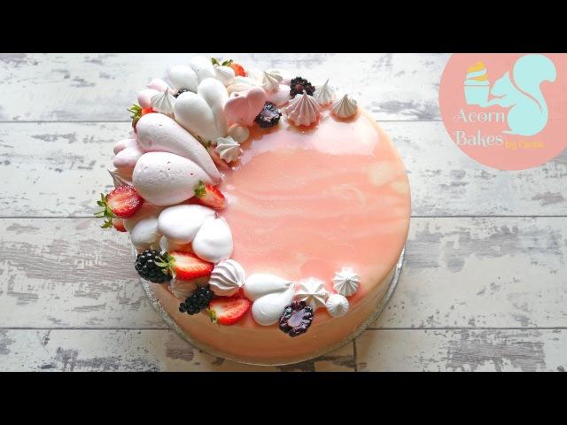 ARIANA GRANDE MOONLIGHT INSPIRED CAKE   Pink Mirror Glaze Cake Tutorial   Acorn Bakes