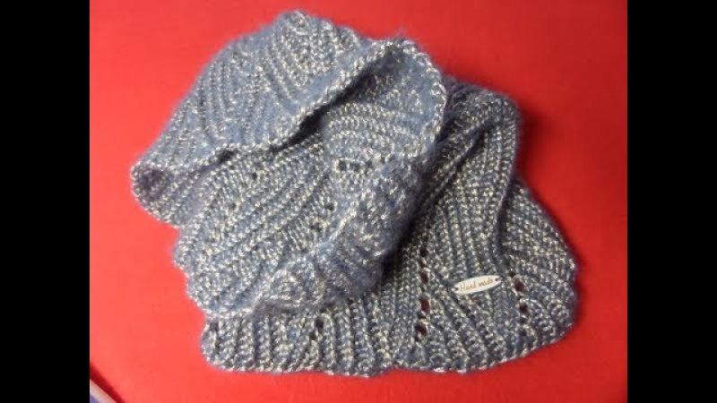 Вяжем ажурный нежный шарф снуд, (труба, хомут)спицами на ребенка. Часть 1/2Knitting(Hobby)