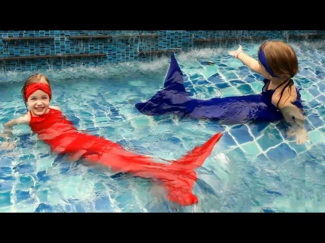 Русалки в бассейне ХВОСТ РУСАЛКИ распаковка и ПРЕВРАЩЕНИЕ В РУСАЛКУ Real little Mermaid