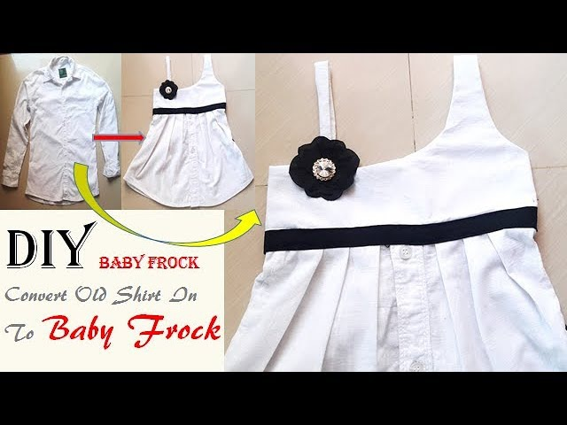 Transform Old Shirt To Baby Frock, DIY One-Strap One Shoulder Baby Frock Cutting And Stitching