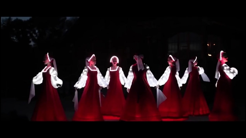 Russian folk dance in Siberia. Artists of LED show CARE