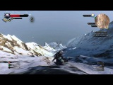 The Witcher 3 Geralt just casually sliding down a giant mountain