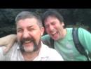 с Олегом смеемся в парке Кузьминки после йогасмеха