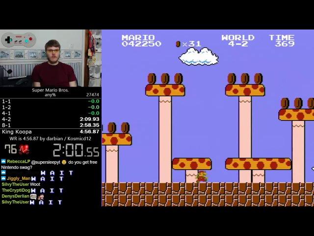 (4:56.528) Super Mario Bros. any% speedrun *World Record*