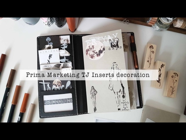 Prima Travelers Insert decoration with stencil and embossing