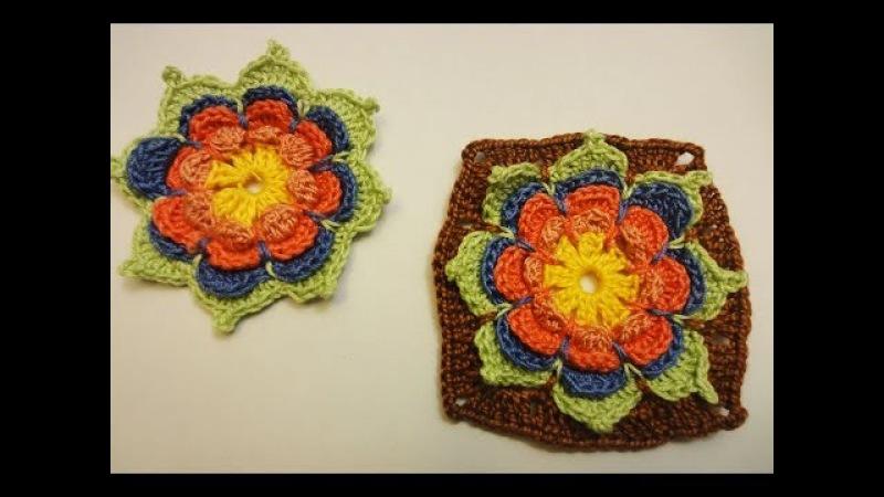 Объёмный цветок в квадрате Volumetric flower in a square Crochet
