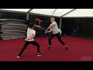 Maisie Williams & Gwendoline Christie Training For Game Of Thrones