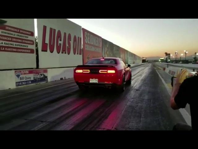 Dodge Demon at the Drag Strip! STOCK 6secs 1/8 mile