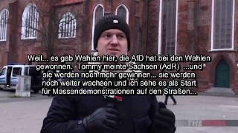 Tommy Robinson entlarvt Lügenpresse in Cottbus - 03.Februar 2018 mit Untertiteln (ge-pixelt)