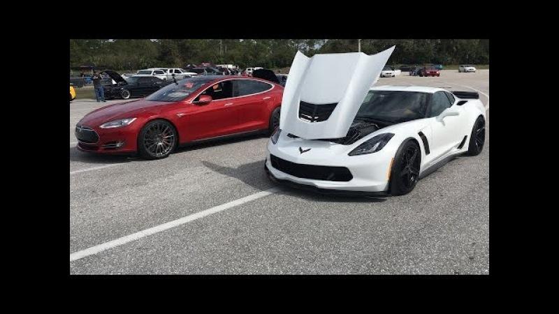 2015 Tesla P90D Ludicrous vs 2015 Corvette Z06 Drag Racing 1/4 Mile