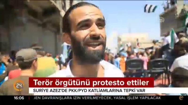 Suriye Azezde terör örgütü PYDyi protesto ettiler.mp4