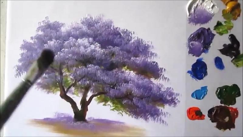 Цветущее Дерево акрилом. Урок1.