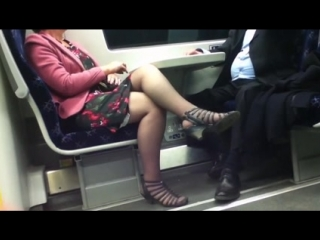 Candid black sandals and pantyhose feet mature woman on train