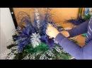 Новогодняя композиция из шишек с цветами. Синий и серебро.