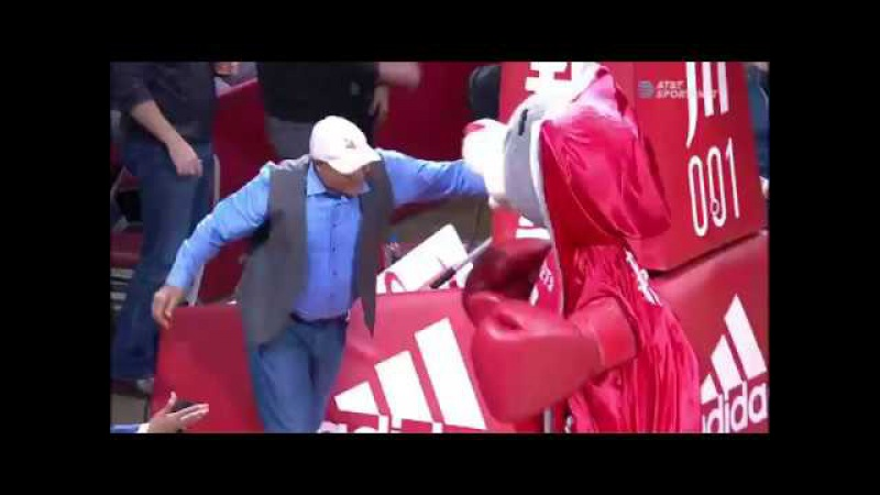 George Foreman knocks out Rockets' mascot