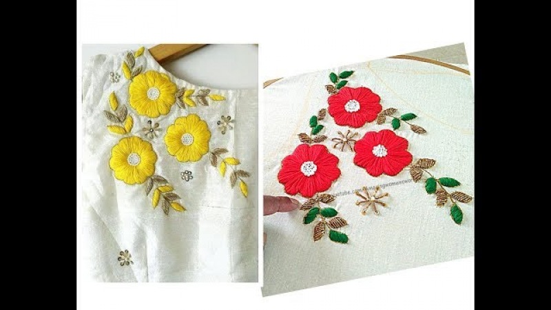 Satin Stitch Flower Embroidery Boat Neck Churidar/Kurti-Aari /Maggam Embroidery | Hand Stitches