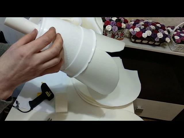 Бесплатный МК по изолоновой розе на горшке(кашпо)!Часть 1