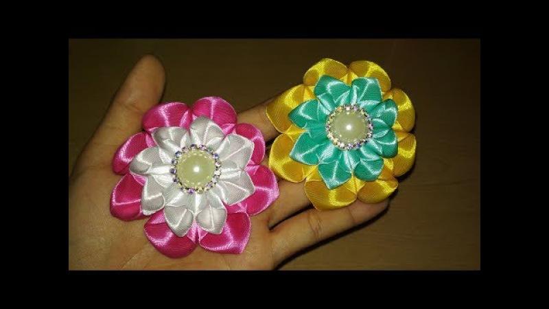 DIY || Cara Membuat Bros Bunga || Kanzashi Flower 12 🌸