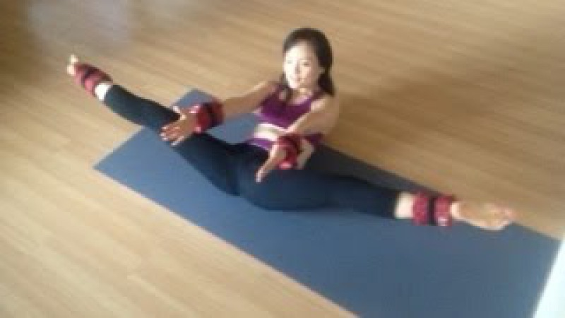 Yoga work out with ankle and wrist weights