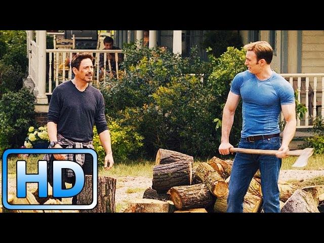 Стив Роджерс и Тони Старк колют дрова / Разговор Старка и Фьюри / Мстители: Эра Альтрона (2015)