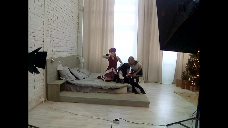Backstage. Kyouko Sakura and Akemi Homura