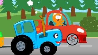 Мультфильм про машинки – Котенок и волшебный гараж –Наперегонки с енотом - Для самых маленьких